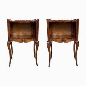 Französischer Nachttisch aus Holz mit offenem Regal, 19. Jh., 2er Set