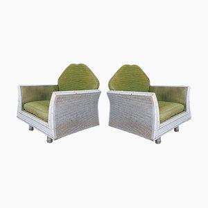Hollywood Regency Sessel aus Kunstbambus mit Rückenlehne aus Schilfrohr, 2er Set