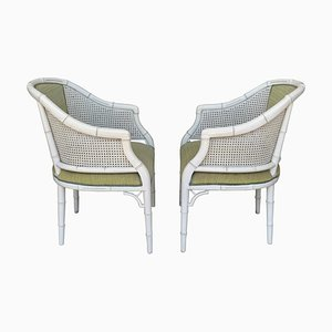 Hollywood Regency Faux Bamboo Chairs, Set of 2