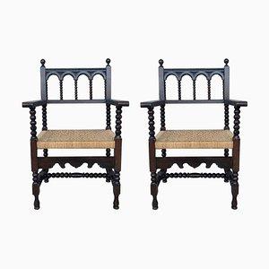 Katalanische Thron Armlehnstühle aus Nussholz mit geflochtenen Sitzen, 20. Jh., 2er Set