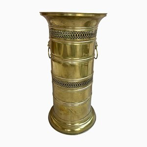20th Century Round Brass Umbrella Stand