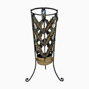 Mid-Century Schirmständer aus vergoldetem Eisen und Messing