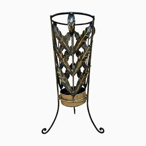 Mid-Century Umbrella Stand in Gilt Iron and Brass