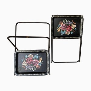 Mid-Century Black Metal Serving Tray on Folding Stand, Set of 2