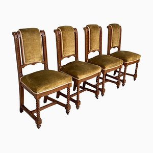 Carved Dining Room Chairs with Velvet Seat, Set of 4