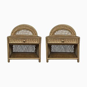 Mid-Century Bamboo & Rattan Gold Nightstands with Drawer and Low Shelves, Set of 2