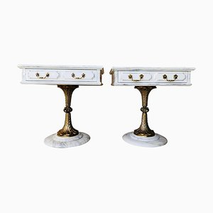 White Nightstands with One-Drawer and Bronze and Marble Pedestal, Set of 2