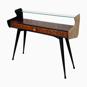 Mid-Century Console Table with High Glass Shelves