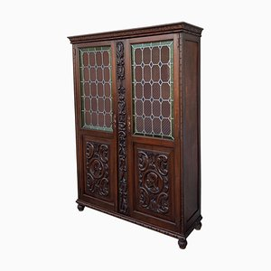 19th Century Spanish Walnut Cabinet with Stained Glass Doors