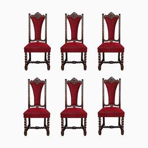Spanische Geschnitzte Nussholz Stühle mit Rotem Samt Sitz, 6er Set