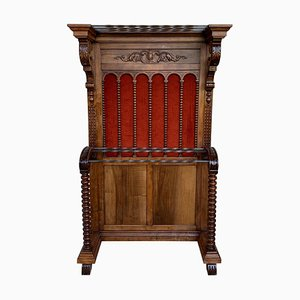 19th Large Carved Spanish Solid Walnut Hall Stand with Red Velvet