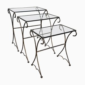 Mid-Century Nesting Tables with Glass Tops, Set of 3