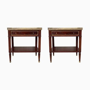 20th Century Marble, Bronze and Walnut Nightstands, Set of 2