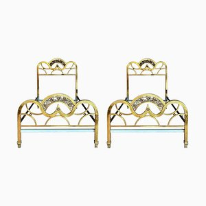 French Mid-Century Gold Brass and Bronze Twin Size Headboards, Set of 2