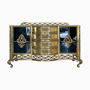 French Bronze Kidney Mirrored Dressing Table