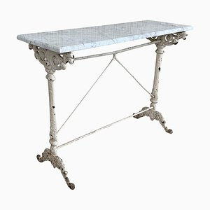 Metal Console Table with White Marble Top, France, 1930s