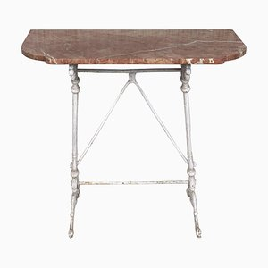 Metal Console Table with Pink Marble Top, France, 1930s