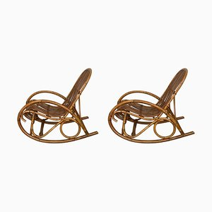 Mid-Century Bamboo Rocking Chairs in the Style of Franco Albini, Italy, Set of 2