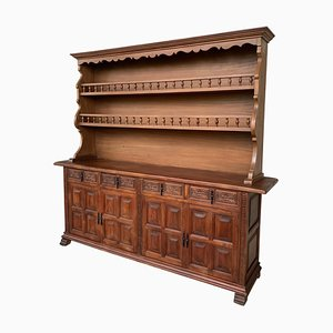Early 20th-Century Large Stepback Cupboard with Four Drawers and Doors