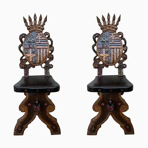 20th-Century Spanish Polychromed Sgabello Carved Side Chairs or Stools, Set of 2