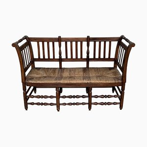 20th-Century Catalan Bench in Walnut with Caned Seat