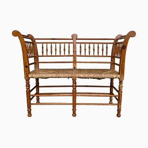 20th-Century Catalan Bench in Antique Pine with Caned Seat