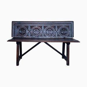 19th-Century Spanish Renaissance Carved Walnut Bench