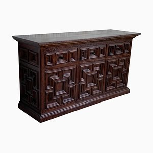 19th-Century Large Catalan Baroque Carved Oak Tuscan Credenza or Buffet