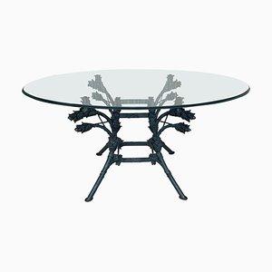 Italienischer neoklassizistischer Schmiedeeisen Tisch mit ovaler Glasplatte