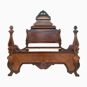 Antique Victorian Italian Carved Walnut High Back Chair