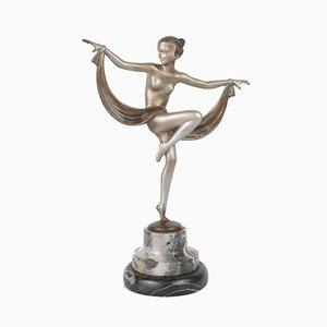 Wiener Art Deco Figur aus Bronze und Marmor von Lorenzl, 1930
