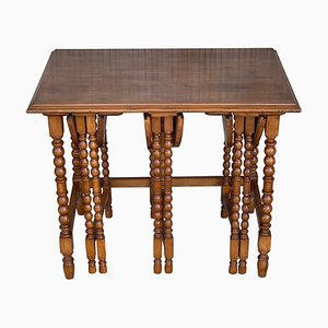 20th-Century Spanish Walnut Nesting and Folding Tables with Turned Legs, Set of 4