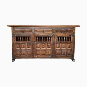 20th-Century Large Catalan Baroque Carved Oak Tuscan Credenza or Buffet