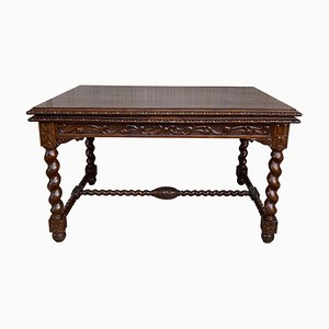 19th-Century Spanish Baroque Walnut Extendable Table with Carved Frame & Solomonic Legs