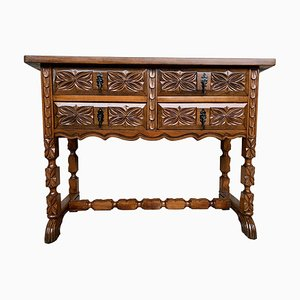 19th-Century Catalan Carved Walnut Console Table with Four Drawers