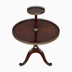 Runder zweistufiger Louis XVI Bouillotte Tisch aus Mahagoni im Stil von Jansen
