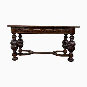 Spanischer Mensa-Tisch mit handgeschnitzten Beinen und Seiten, 19. Jh