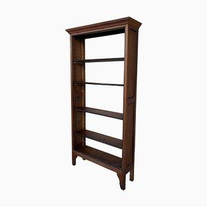 19th-Century French Walnut Ebonized Bookcase with Five Adjustable Shelves