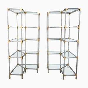 Mid-Century Brass Lucite and Glass Shelving Units, Set of 2