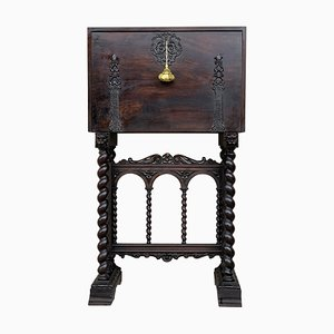 18th-Century Spanish Cabinet on Stand with Bargueno Columns