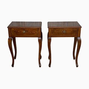 French Louis XV Style Walnut Bedside Tables with Drawer, Set of 2