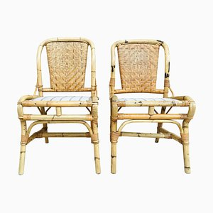 20th Spanish Bamboo Chairs, Set of 2