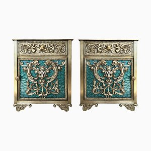 Bronze Vitrine Nightstands with Green Glass Doors and Drawer, Set of 2