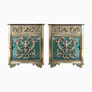 Tables de Chevet Vitrine en Bronze avec Portes en Verre Vert et Tiroir, Set de 2
