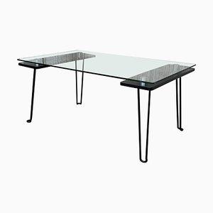 Mid-Century Metall Tisch mit Glasplatte und Nickel Stützen