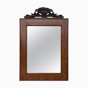 Antique Geometric Marquetry Inlaid Mahogany Mirror with Carved Crest