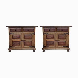 19th Century Catalan Carved Oak Tuscan Two Drawer Buffets, Set of 2