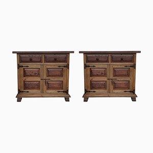 Buffet toscani in legno di quercia intagliato, XIX secolo, set di 2