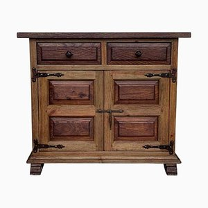 19th Century Catalan Carved Oak Tuscan Two Drawer Buffet