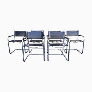 Esszimmerstühle aus Stahlrohr & Leder von Mart Stam für Matteo Grassi, 1970er, 6er Set